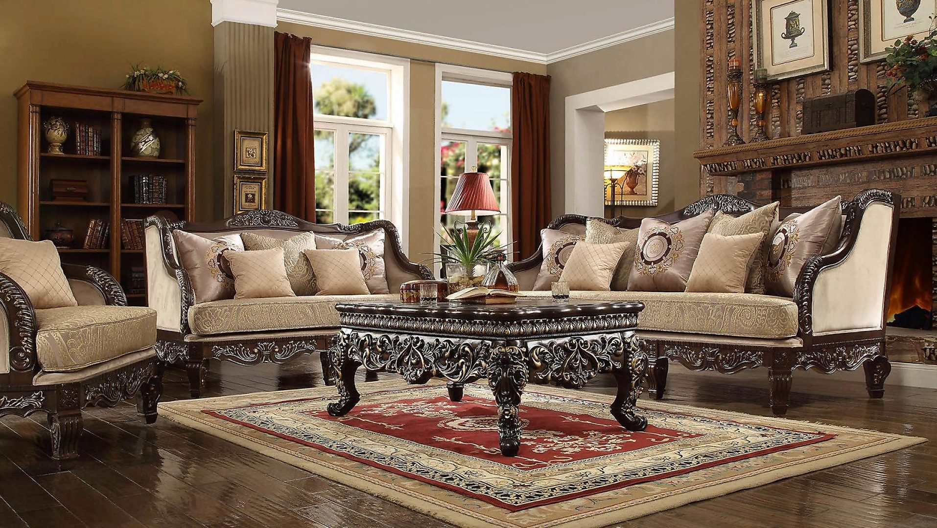 Traditional HD-914 Sofa Loveseat Chair Coffee Table Two End Tables 6Pcs by Homey Design
