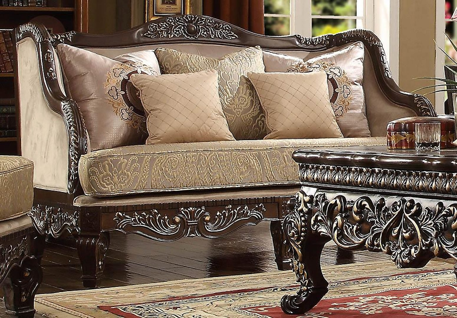 Traditional HD-914 Sofa Loveseat and Chair Set 3Pcs in Cappuccino by Homey Design