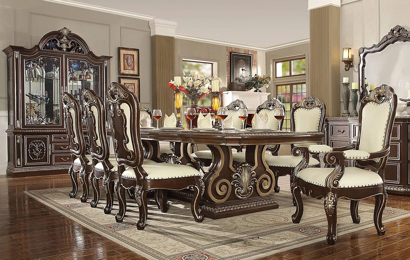 Traditional Classic HD-8013 Dining Table Set 9 Pcs by Homey Design