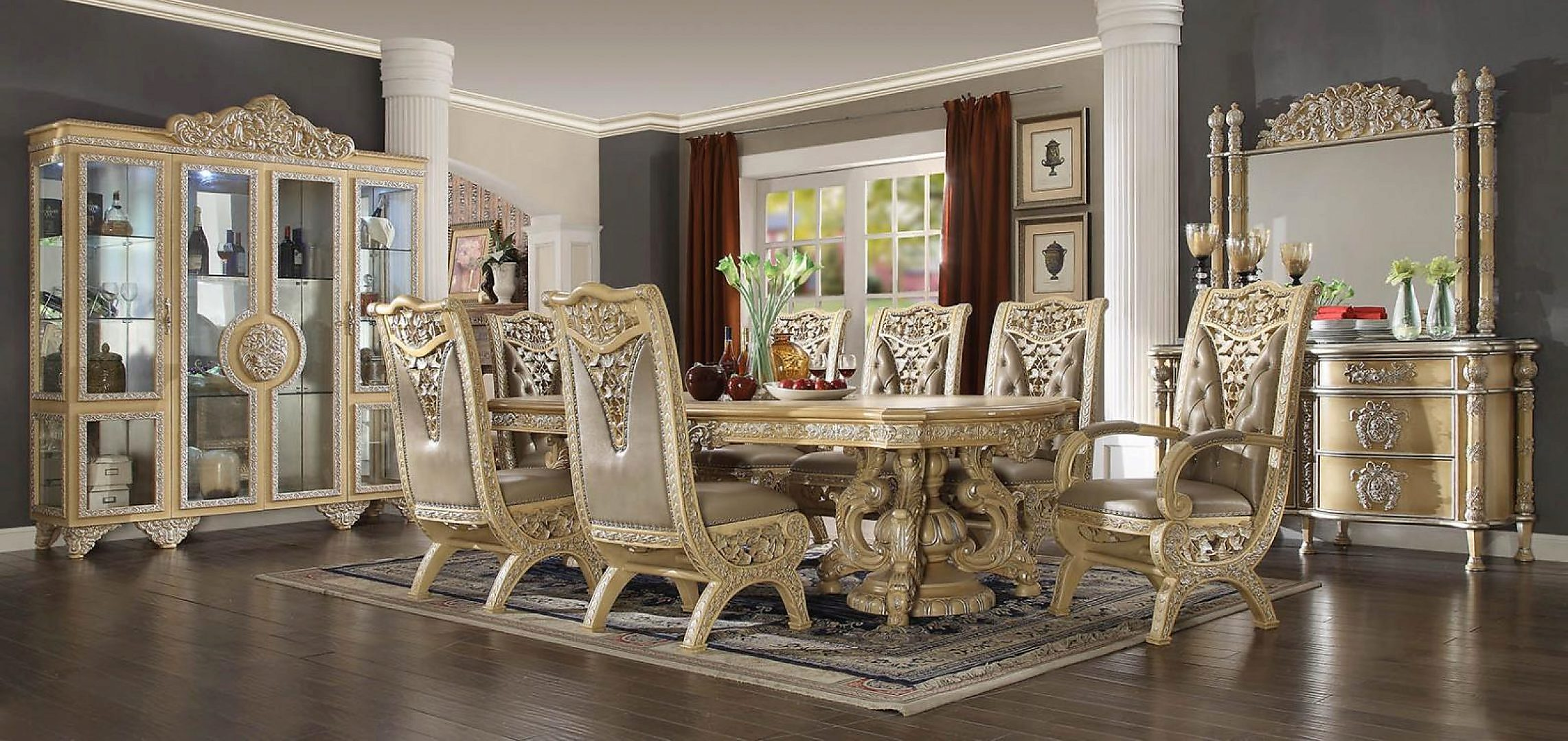 Traditional Classic HD-8015 Dining Table Set 8 Pcs by Homey Design