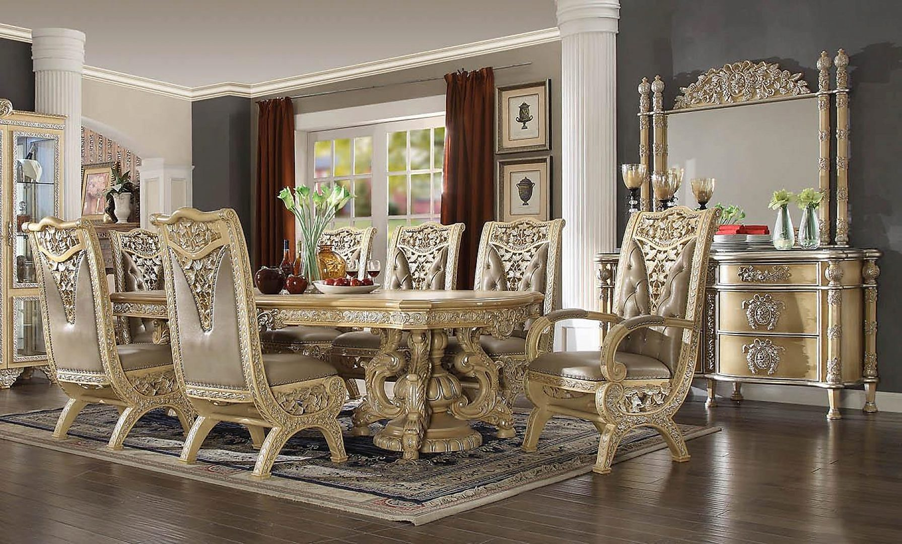 Traditional Classic HD-8015 Dining Table Set 9 Pcs by Homey Design