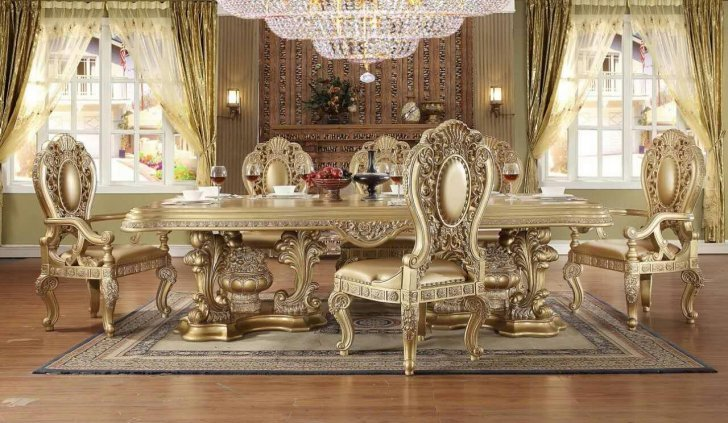 Traditional Royal HD-8016 Dining Table Set 9 Pcs by Homey Design