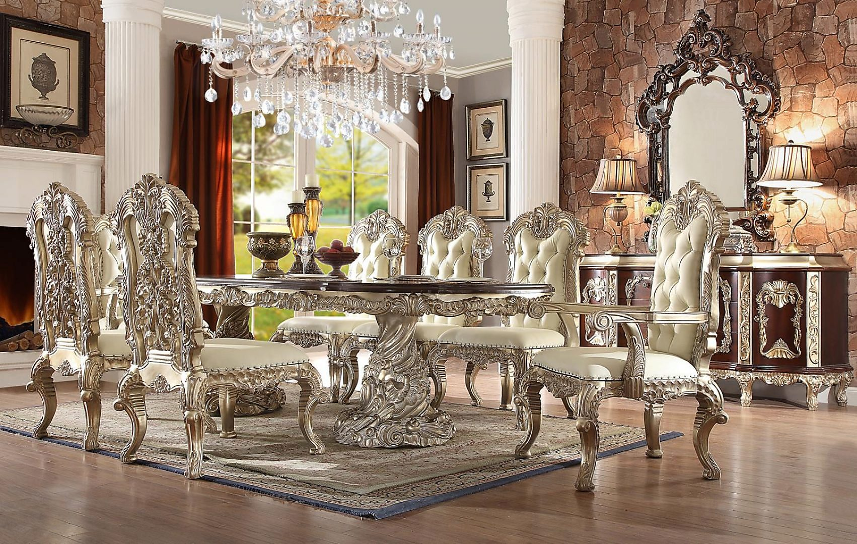 Traditional HD-8017 Dining Table Set 9 Pcs w/ 2 arcmchairs by Homey Design