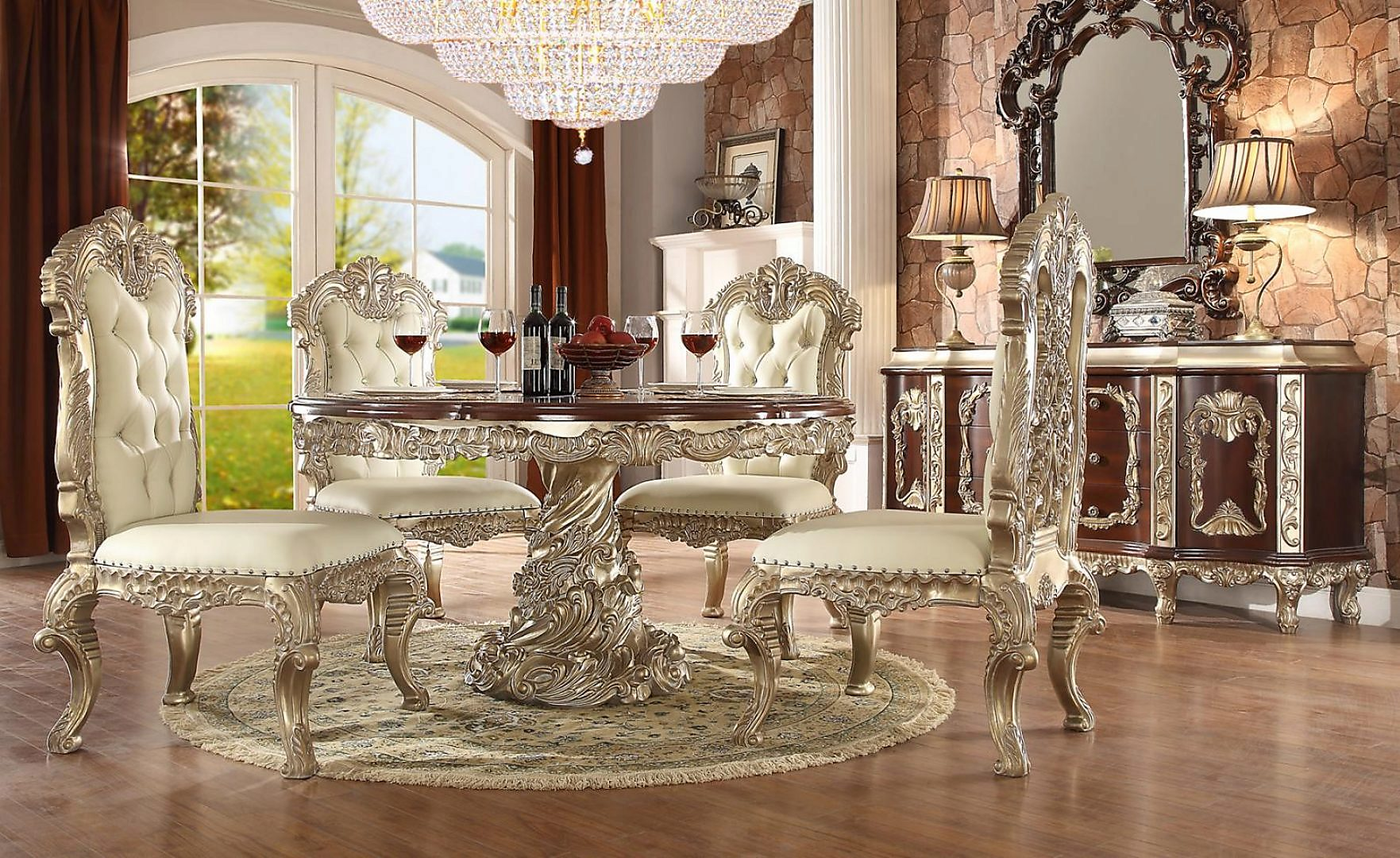 Traditional Royal HD-8017 Dining Table Set 7 Pcs by Homey Design