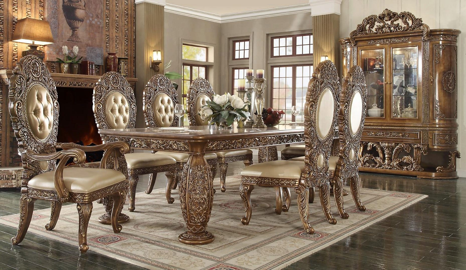 Traditional Classic HD-8018 Dining Table Set 9 Pcs by Homey Design