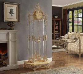 Traditional Victorian Luxury HD-8817 Floor Clock in Gold by Homey Design