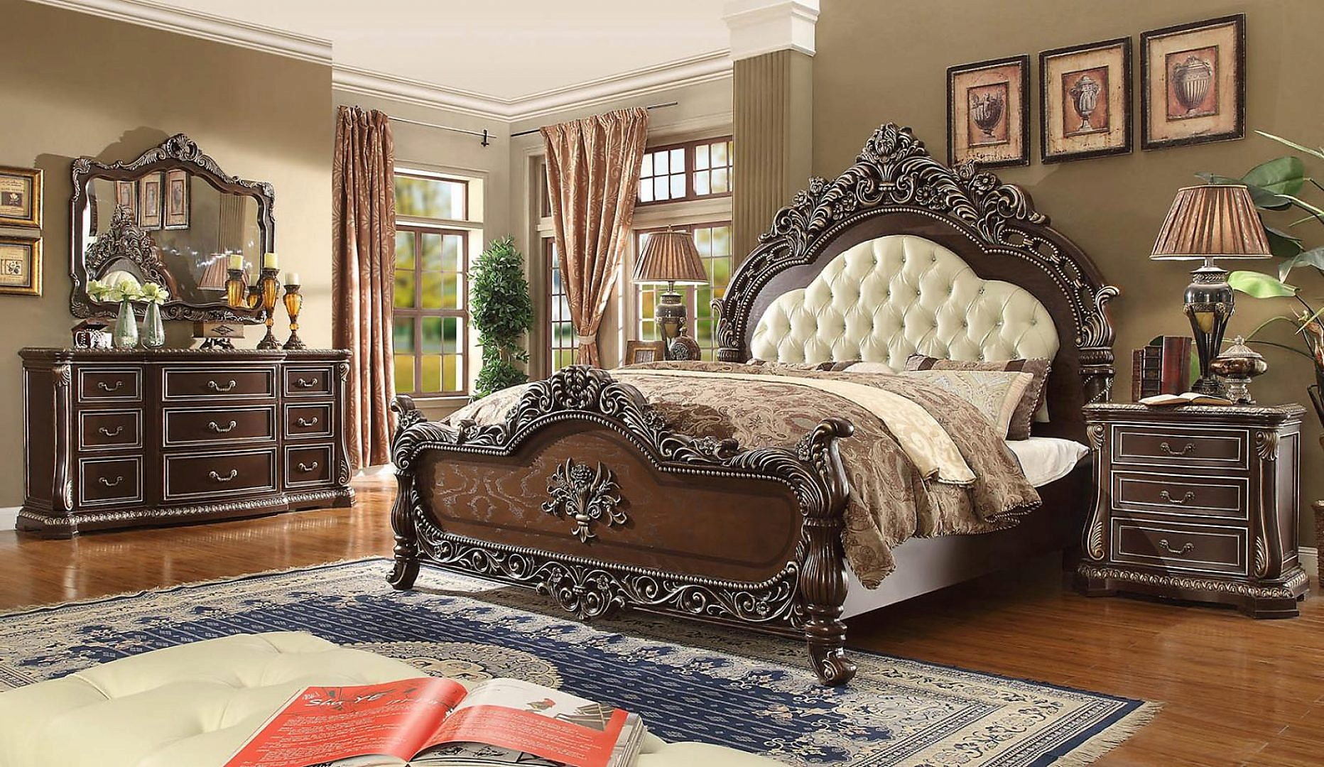 Traditional HD-8013 Eastern King Bedroom Set 6 Pcs in Ivory by Homey Design