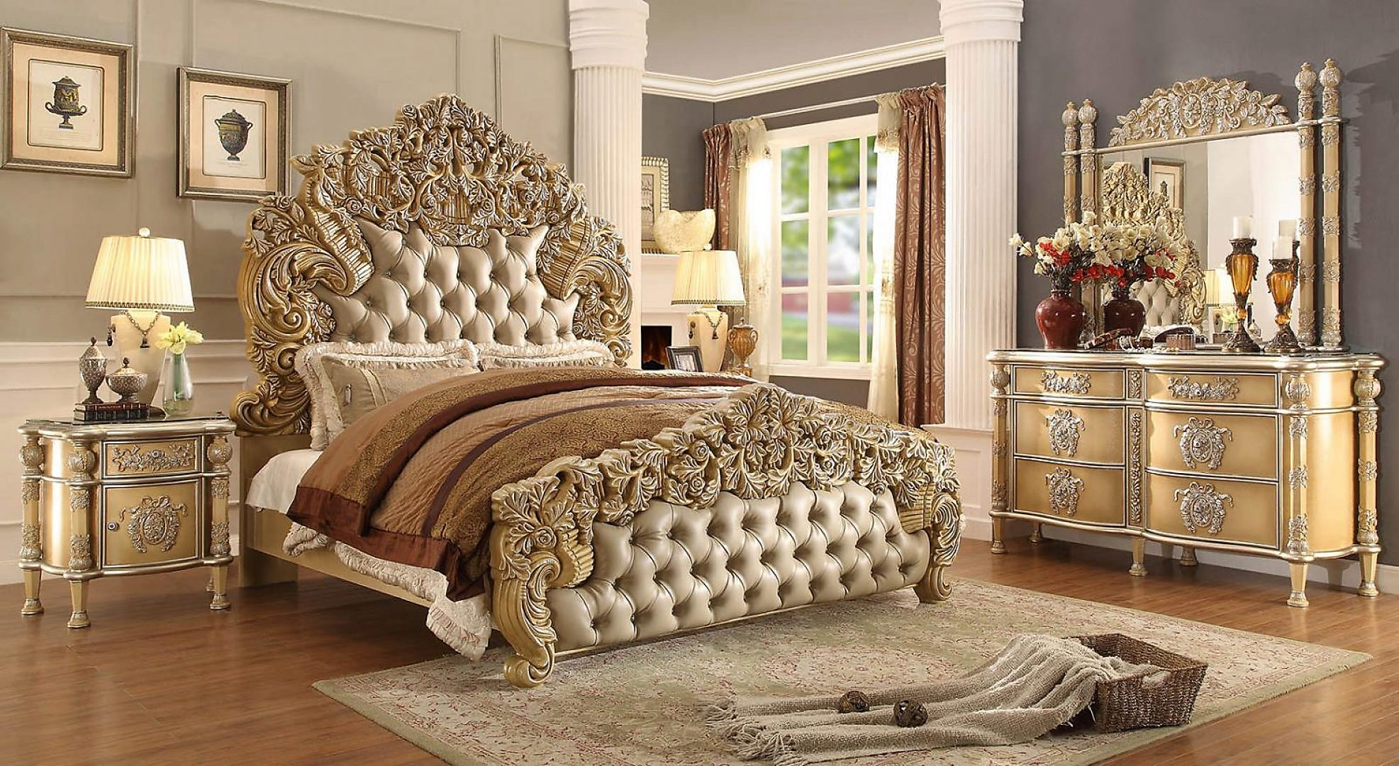 Traditional Classic Gilded HD-8015 California King Bed in Ivory by Homey Design