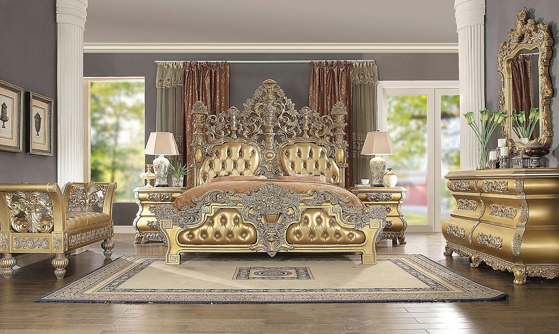 Traditional HD-8016 Gilded California King Bedroom Set 6 Pcs by Homey Design