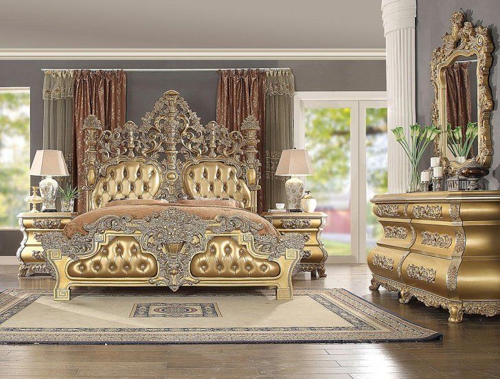 Hd 8016 Traditional Bedroom Set In Gold Finish Wood By Homey Design