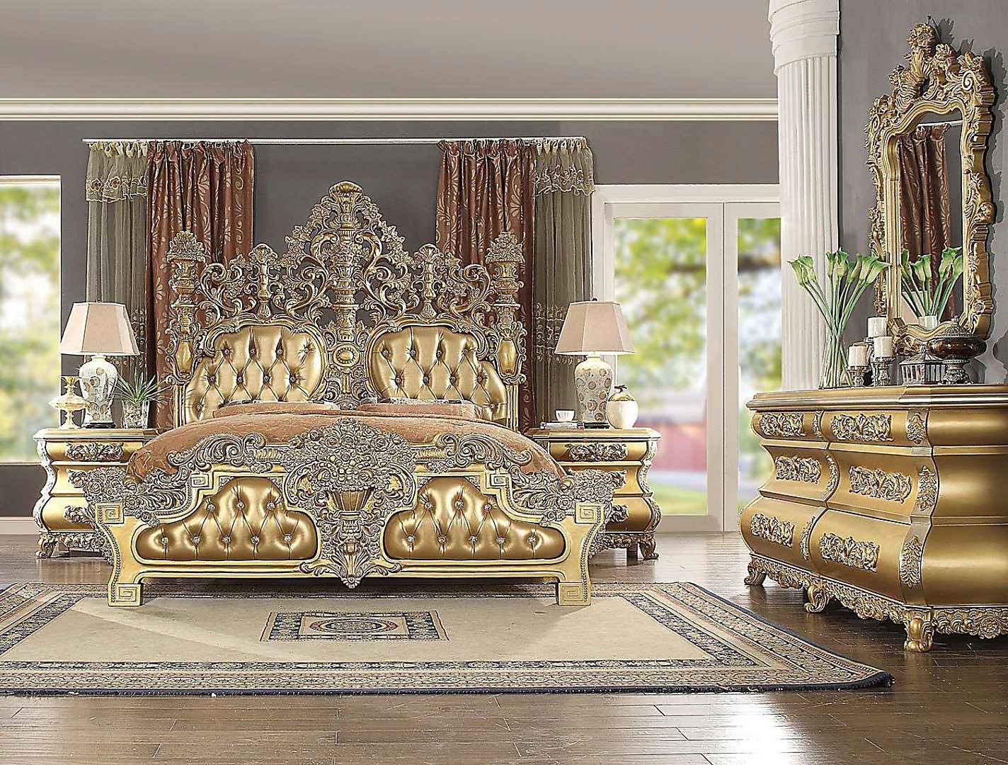 Traditional HD-8016 Gilded California King Bedroom Set 5 Pcs by Homey Design