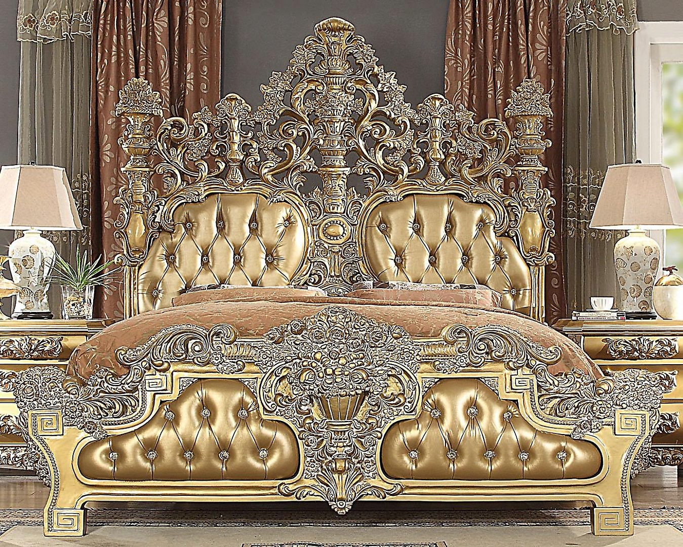 Traditional HD-8016 Gilded California King Bedroom Set 2 Pcs by Homey Design
