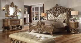 Traditional HD-8018 California King Bedroom Set 6 Pcs in Beige by Homey Design