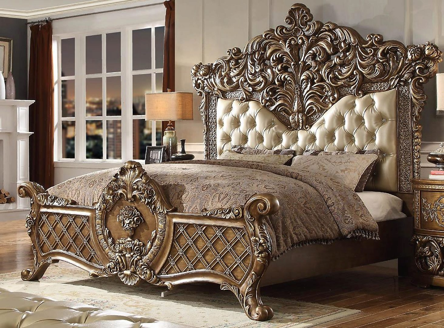 Traditional Classic Pearl HD-8018 King Bed by Homey Design