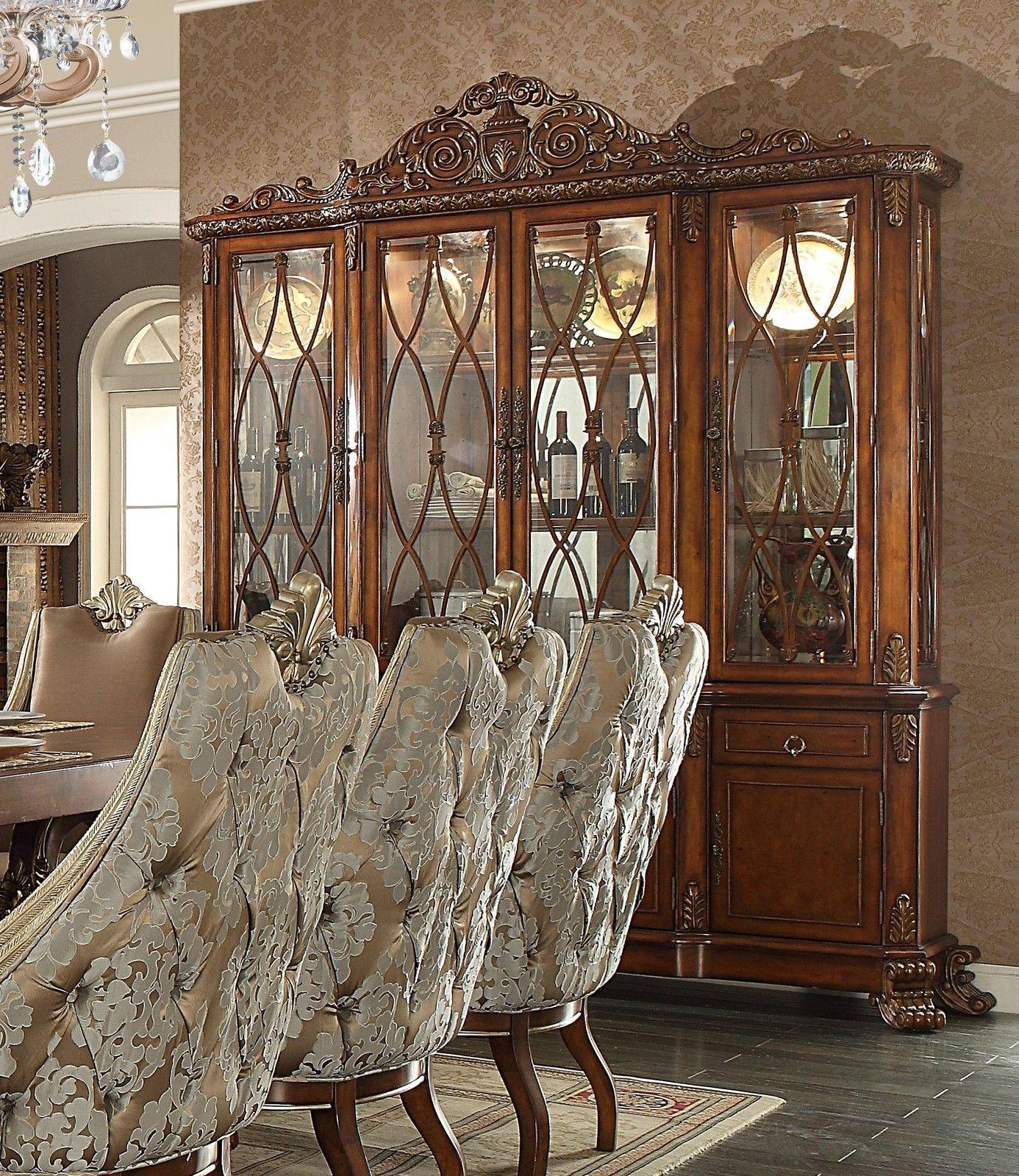 Traditional Luxury Champagne HD-124 China Cabinet by Homey Design