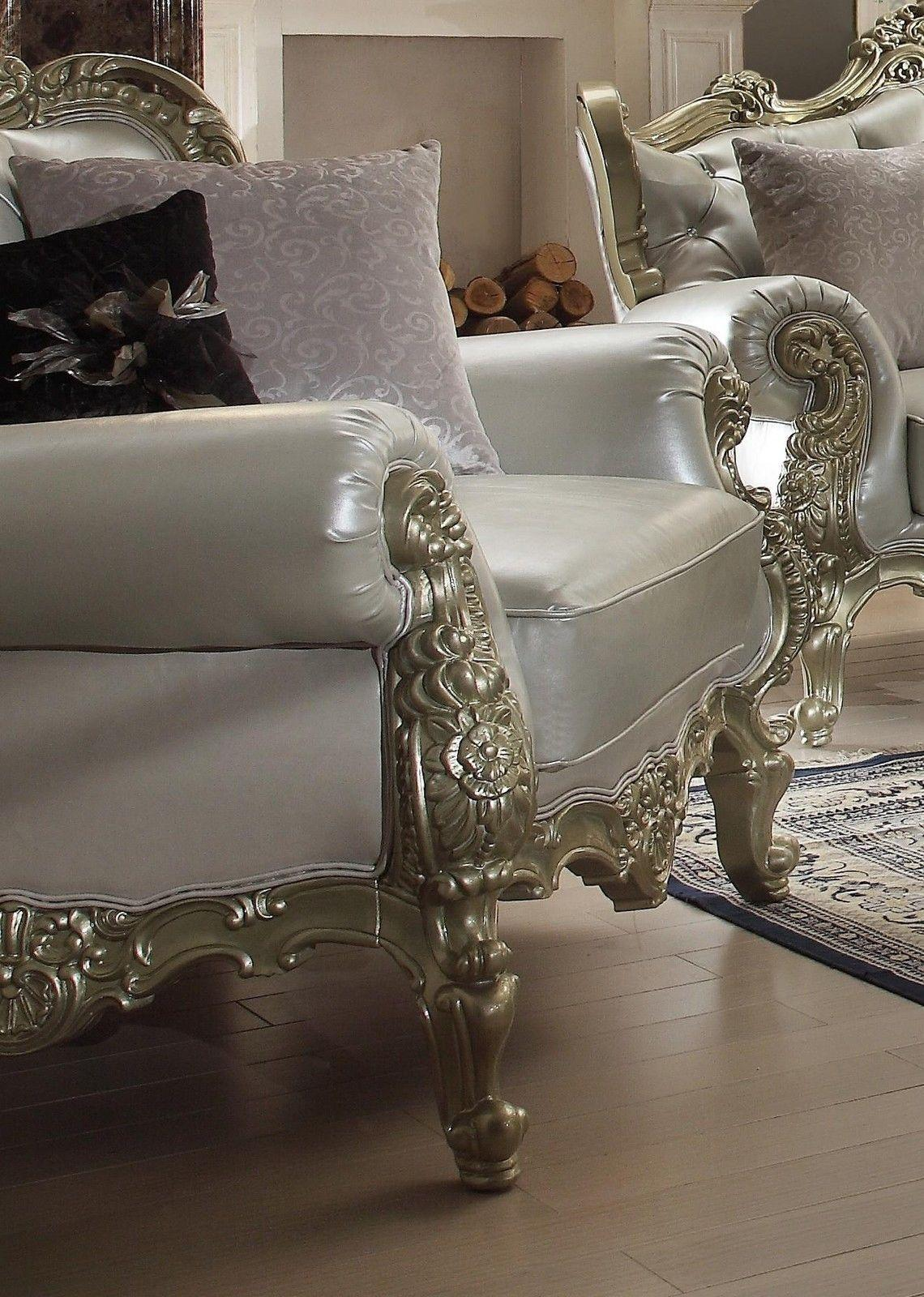 Traditional Victorian Royal HD-13006-C Chair in Silver by Homey Design