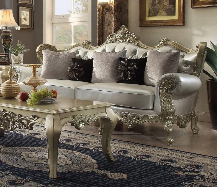 Hd 13006 S Traditional Sofa In Silver Leather By Homey Design