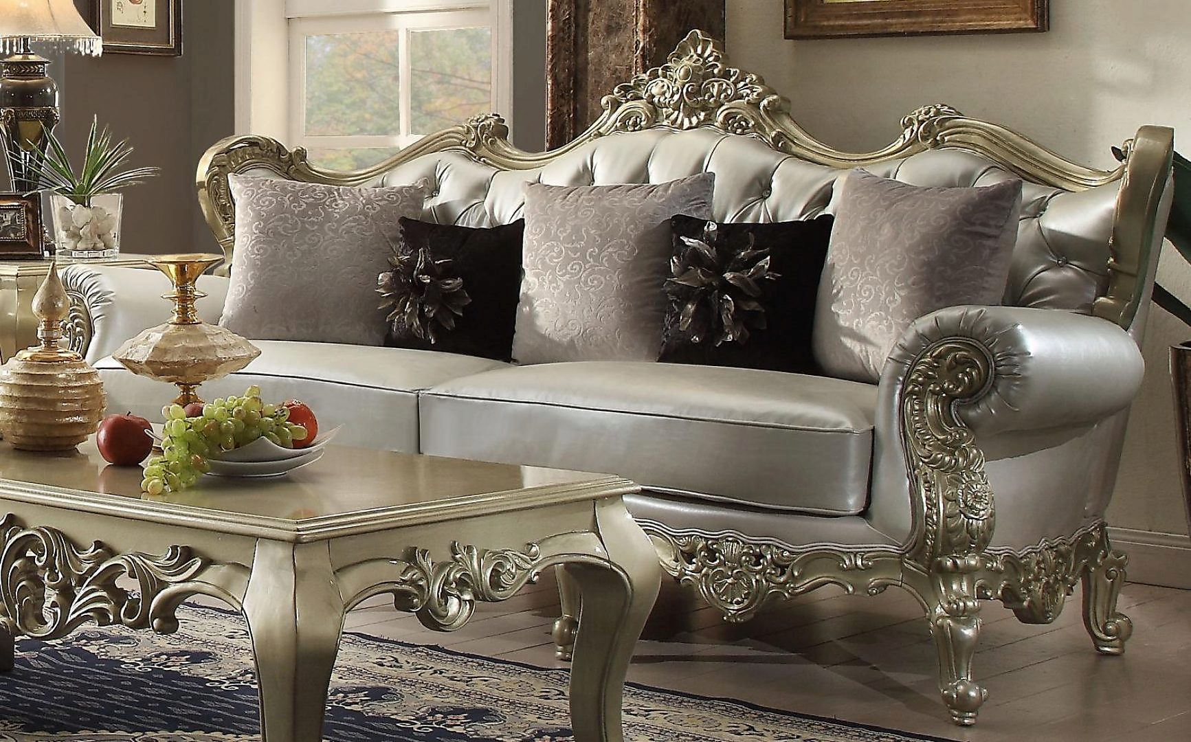 Traditional Victorian HD-13006-SL Sofa and Loveseat Set 2Pcs by Homey Design