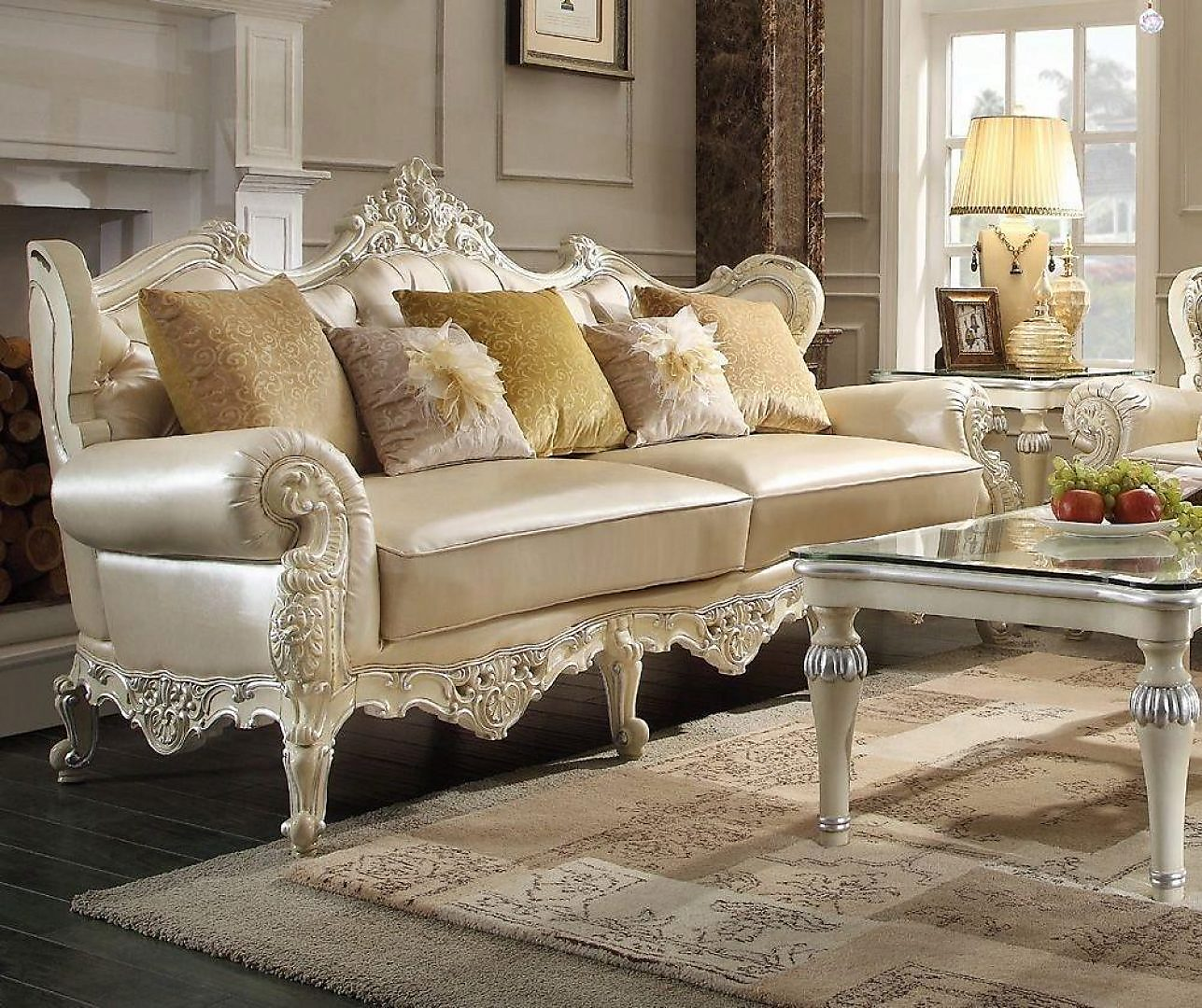 Traditional Luxury Pearl HD-13009-S Sofa by Homey Design