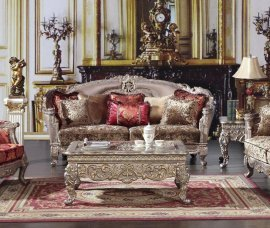 Traditional Luxury Gold HD-1880-S Sofa in Taupe by Homey Design