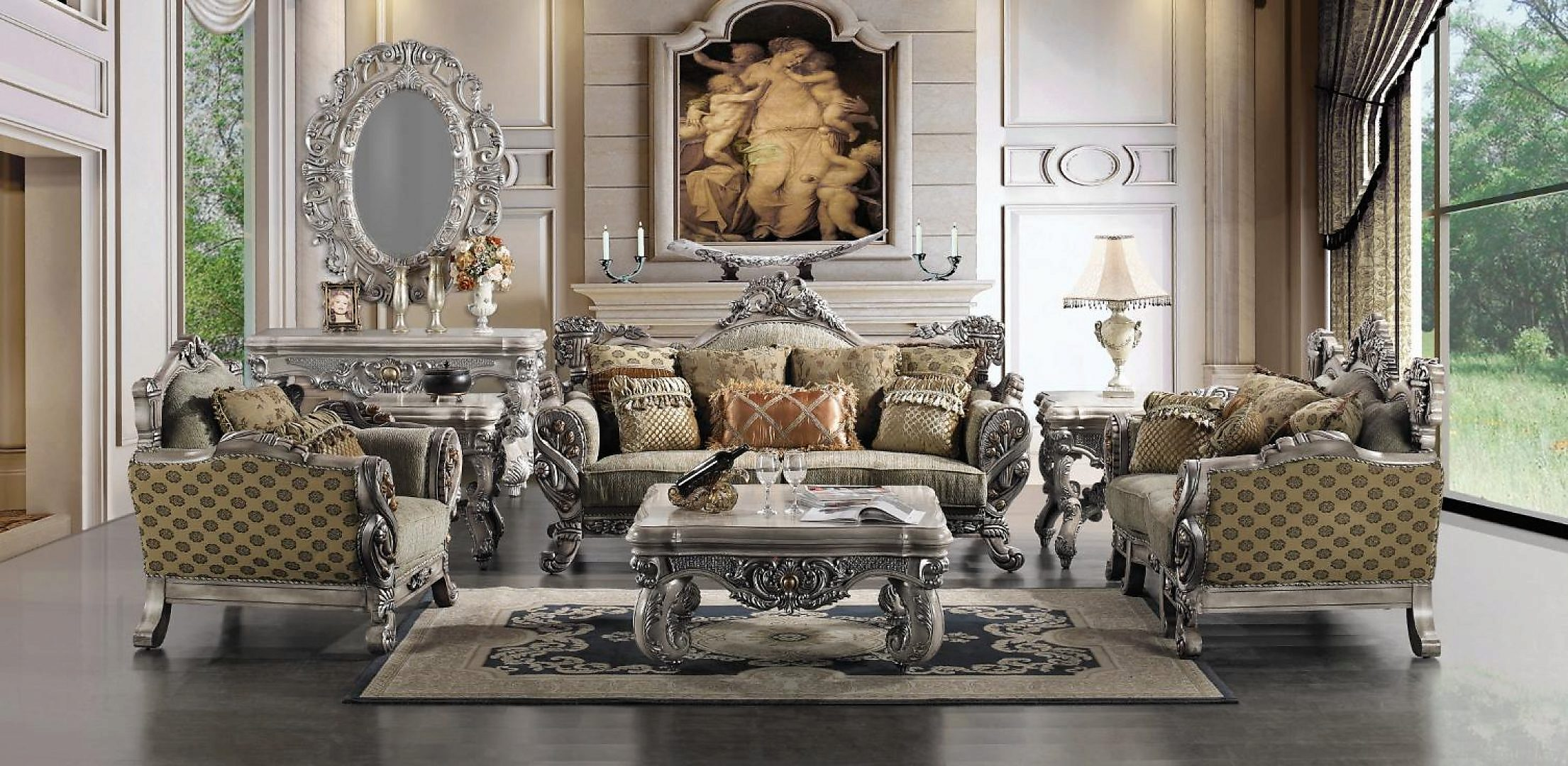 Traditional Carved Hd-272-SLC Sofa Set in Blue by Homey Design