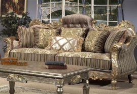 Traditional Carved HD-287-S Sofa in Olive by Homey Design