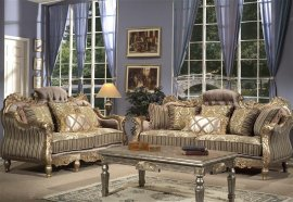 Traditional Carved HD-287-SL Sofa and Loveseat Set by Homey Design
