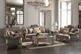 Traditional Carved HD-287-SLC Sofa Set in Olive by Homey Design