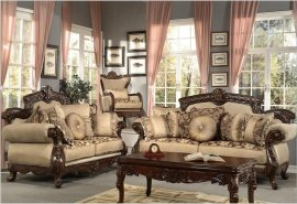 Traditional Hazelnut HD-296-SL Sofa and Loveseat Set by Homey Design