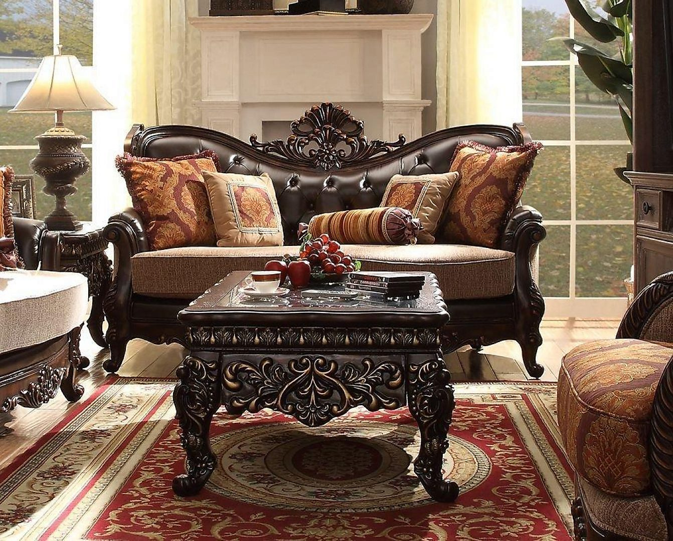 Traditional Carved HD-3630-S Sofa in Espresso by Homey Design