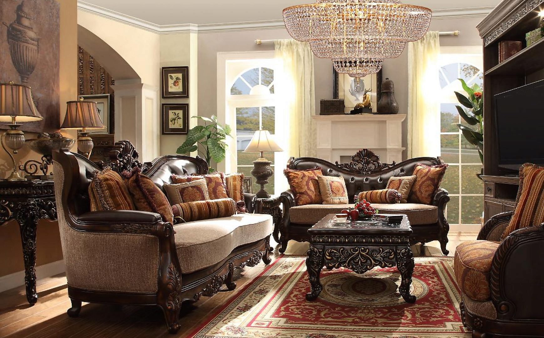 Traditional Carved HD-3630-SLC Sofa Set in Espresso by Homey Design