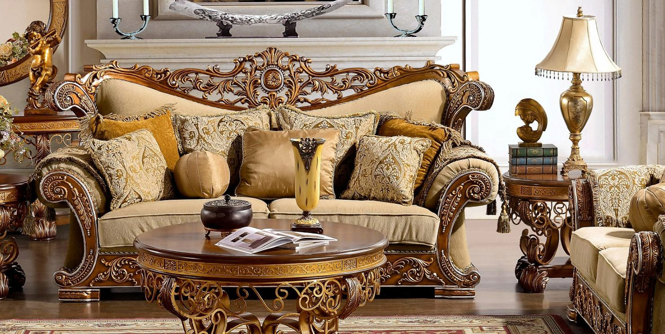 Traditional Carved HD-369-L Loveseat in Gold by Homey Design