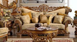 Traditional Carved HD-369-S Sofa in Gold by Homey Design
