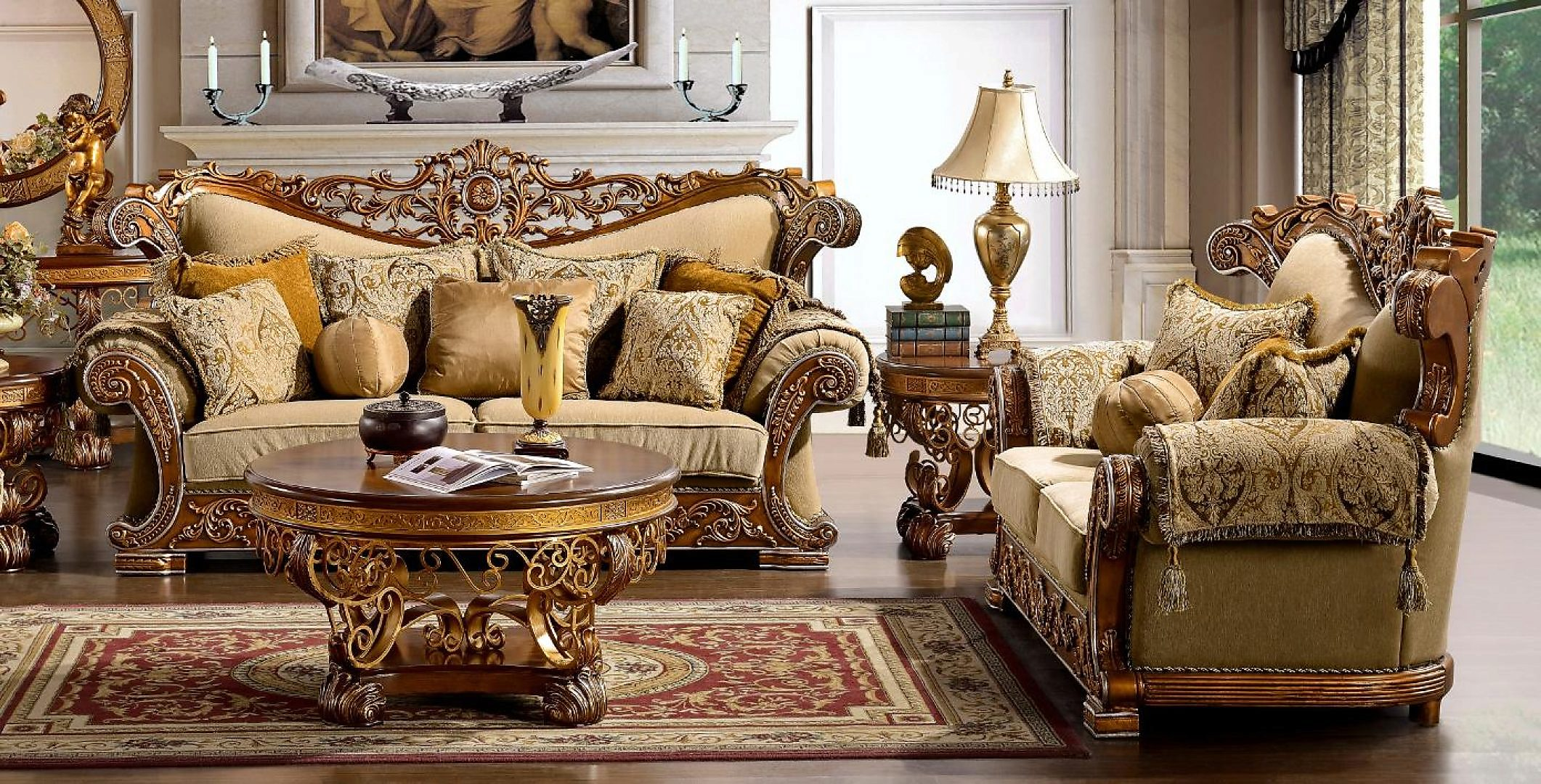 Traditional Carved HD-369-SL Sofa and Loveseat Set by Homey Design