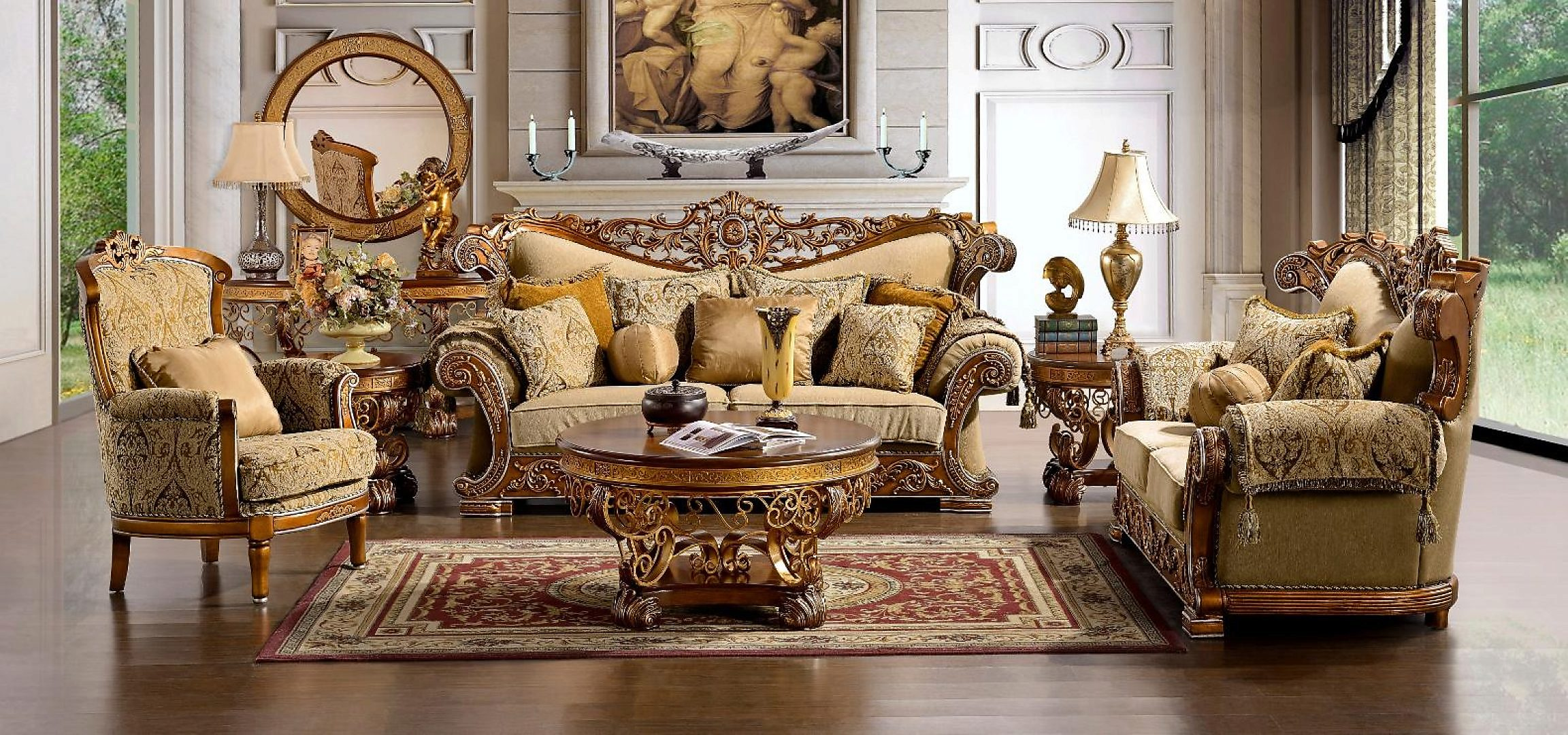 Traditional Carved HD-369-SLC Sofa Set in Gold by Homey Design
