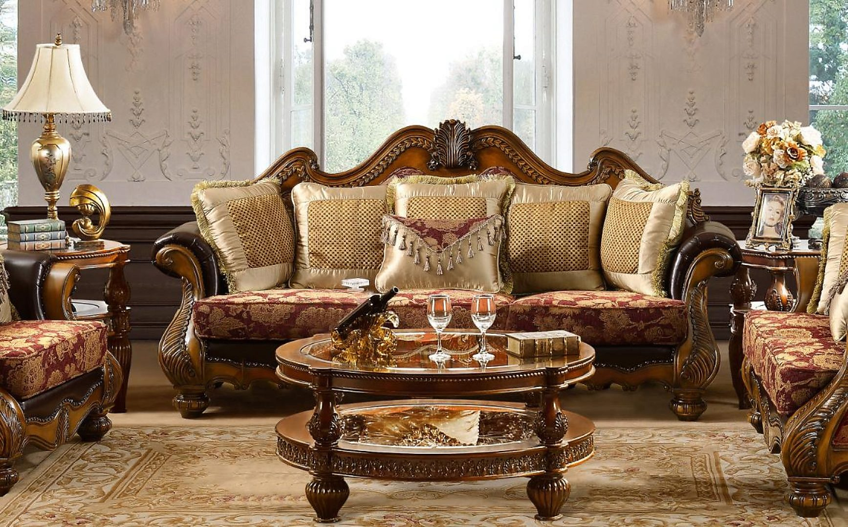Traditional Antique Gold HD-481-S Sofa in Burgundy by Homey Design