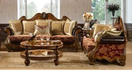 Traditional Antique HD-481-SL Sofa and Loveseat Set by Homey Design