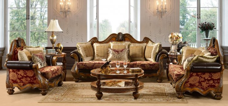 Traditional Antique HD-481-SLC Sofa Set in Burgundy by Homey Design