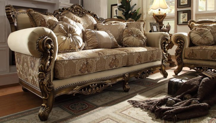 HD-506-S Traditional Sofa in Gold Fabric by Homey Design