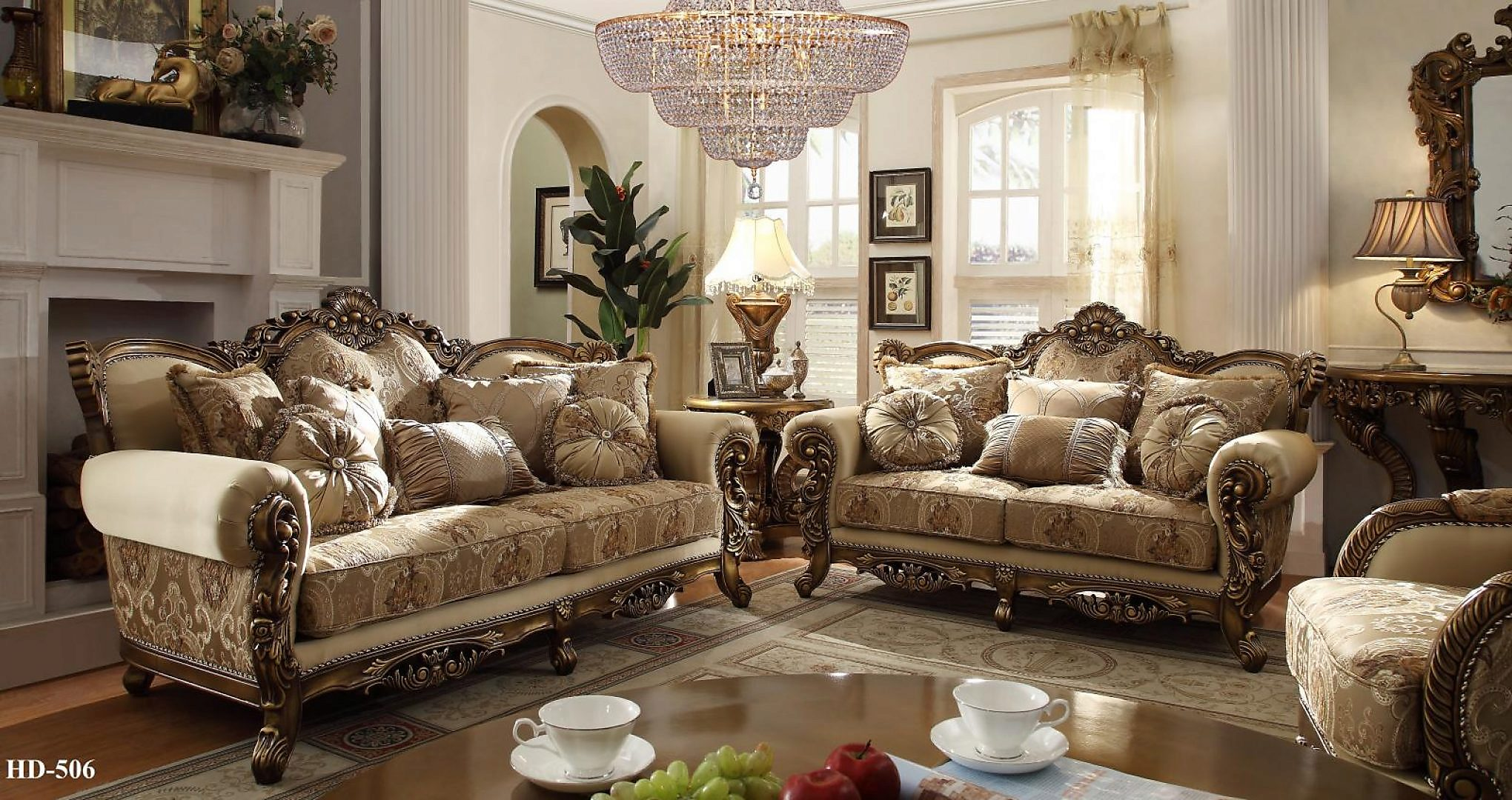 Traditional Luxury Gold HD-506-SLC Sofa Set in Gold by Homey Design