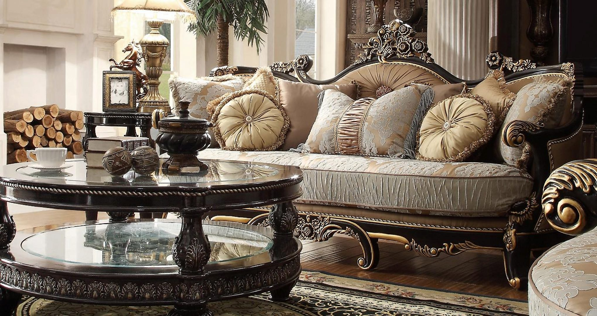 Traditional Victorian Luxury HD-551-S Sofa in Smoke by Homey Design