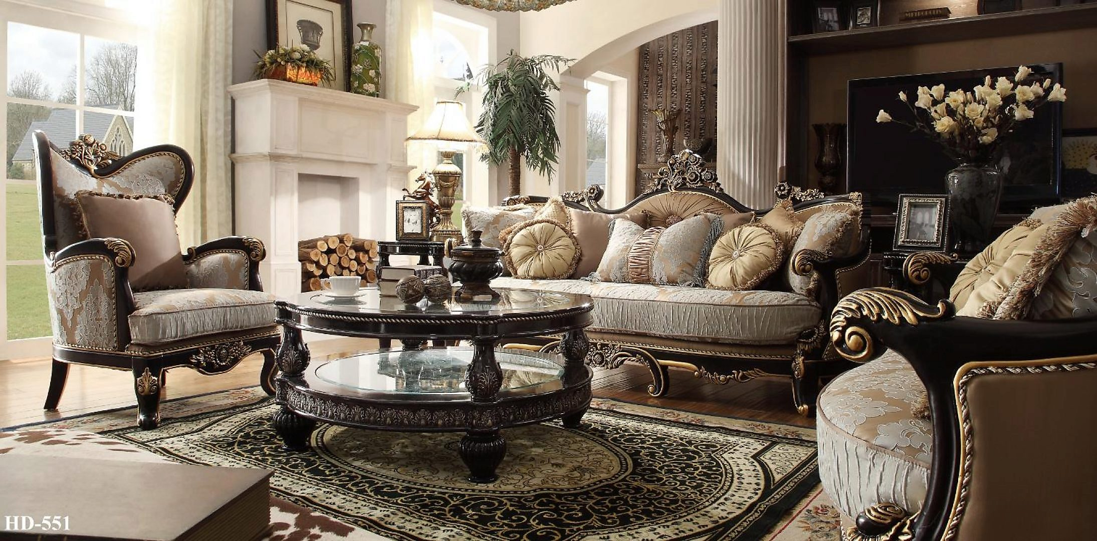 Traditional Victorian Luxury HD-551-SLC Sofa Set in Gold by Homey Design