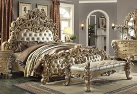 Traditional Gilded Ornately HD-7012 King Bed in Beige by Homey Design