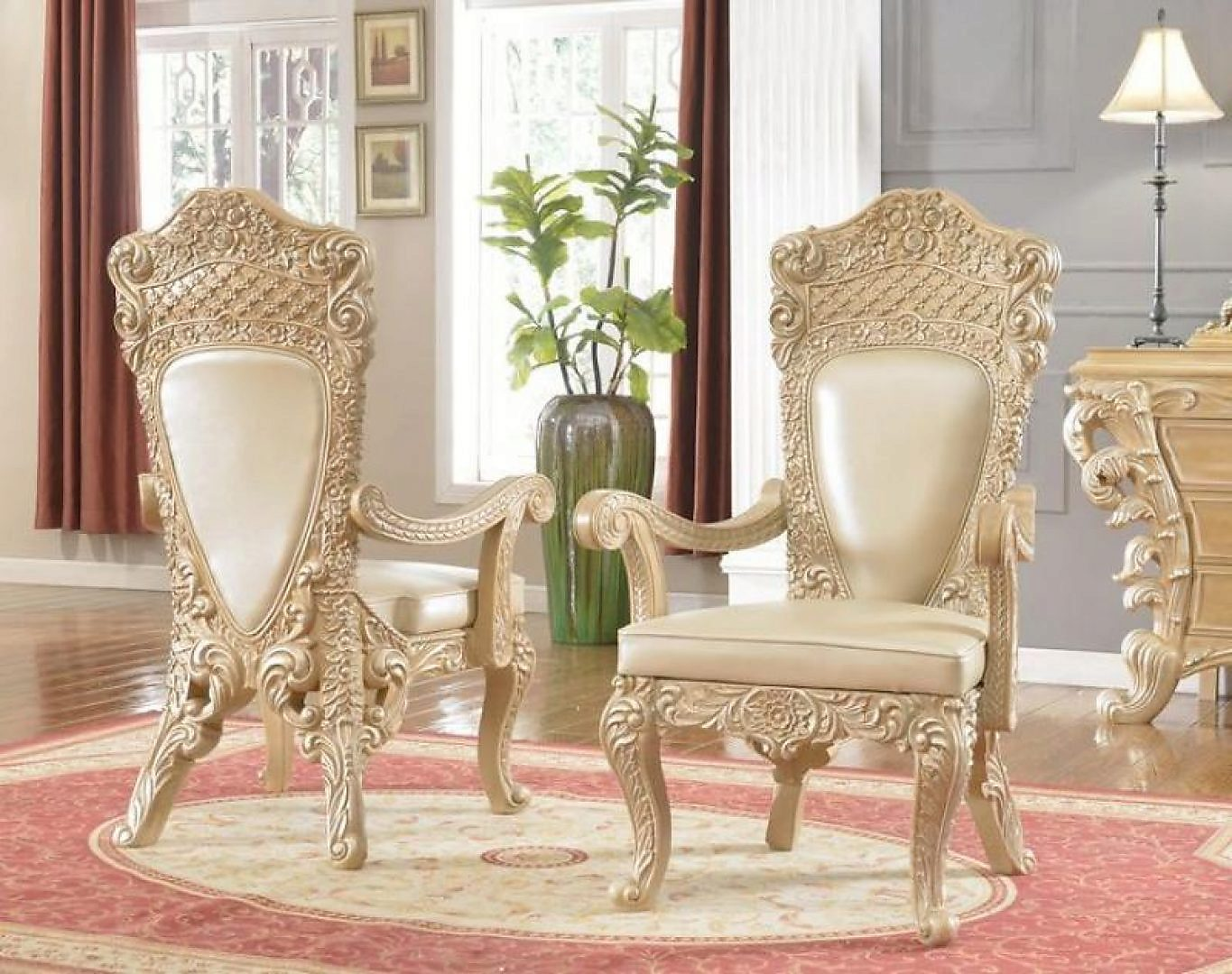 Traditional Gold HD-7012-SC Side Chair in Champagne by Homey Design