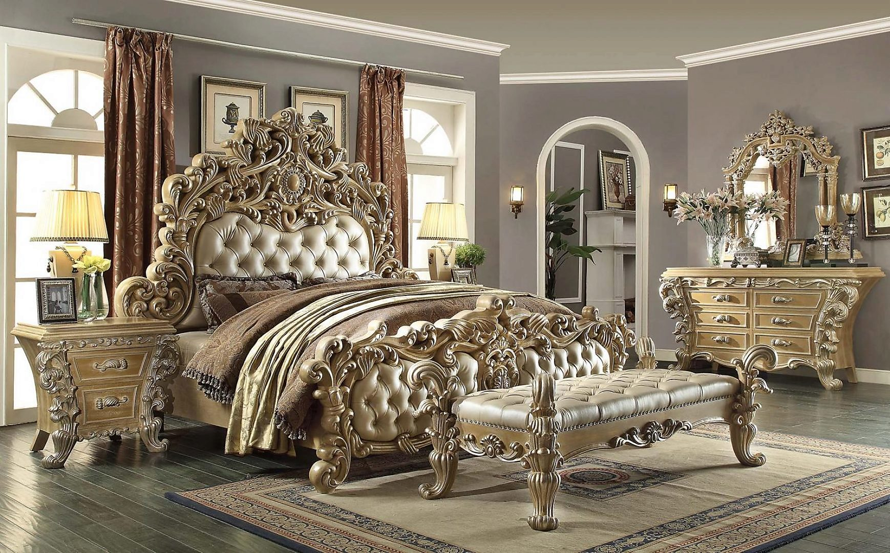 Traditional HD-7012 Queen Bedroom Set 5Pcs in Champagne by Homey Design