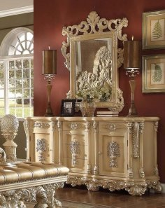 Traditional Victorian Ornately HD-7266-DRM Dresser in Gold by Homey Design
