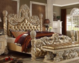 Traditional Victorian HD-7266 Eastern King Bed in Gold by Homey Design