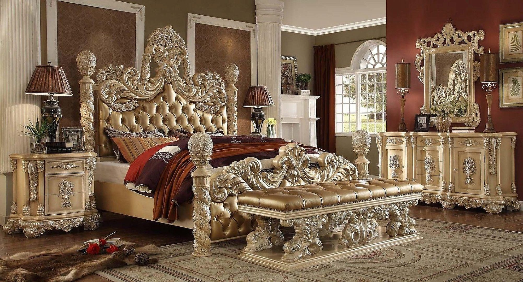 Traditional HD-7266 Eastern King Bedroom 5Pcs in Gold by Homey Design