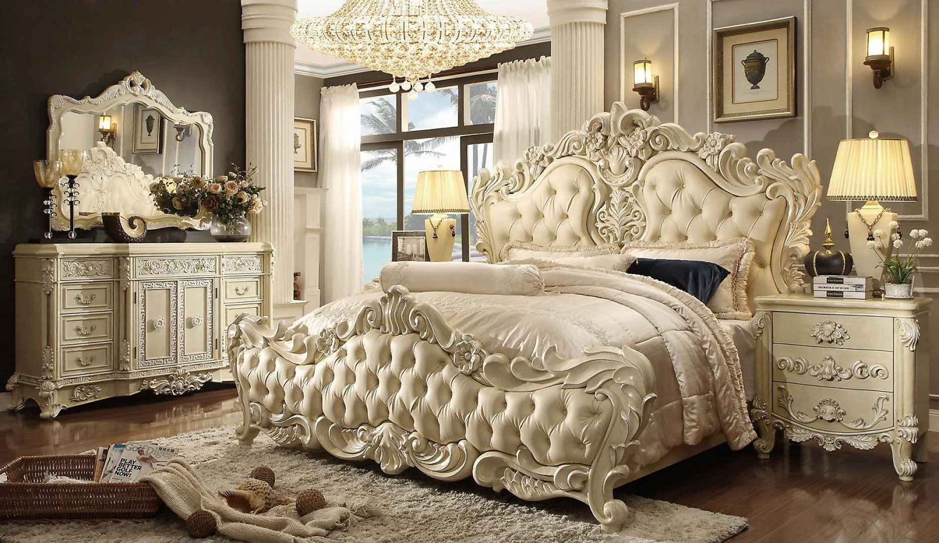 Traditional HD-5800 California King Bedroom 3Pcs in Cream by Homey Design