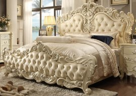 Traditional Luxury HD-5800 Eastern King Bed in Cream by Homey Design